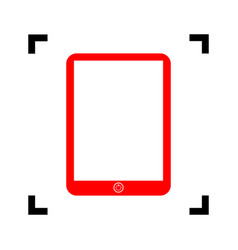 Computer tablet sign  red icon inside vector