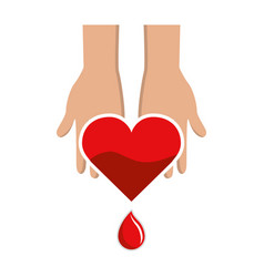 Hands with blood heart drop donation symbol vector