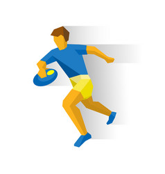 rugby player running sportsman with ball in hand vector image