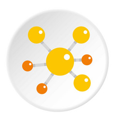 Yellow molecular model icon circle vector
