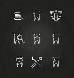 dental icons set - teeth line icons on chalkboard vector image