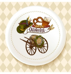 Oktoberfest beer set on a white plate vector