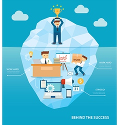 Behind business success flat design vector