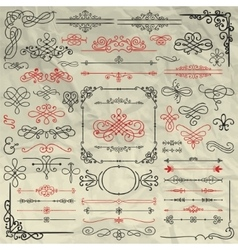 Sketched decorative design elements on crumpled vector
