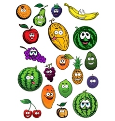 Tropical and garden fruits characters vector