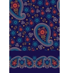 Paisley seamless pattern border set vector
