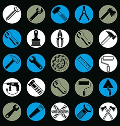 Stylized industrial icons 3d work tools collection vector