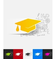 Graduation paper sticker with hand drawn elements vector