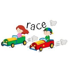 Boy and girl racing car vector image