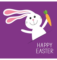 Happy easter bunny rabbit hare with carrot in the vector