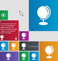 Globe icon sign buttons modern interface website vector