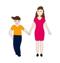 Mother keeps son of the teenager arm vector