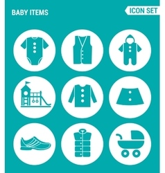 Set of round icons white baby items clothes vector