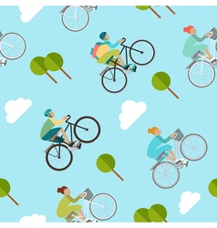 Background with girls and boys is riding bike vector image