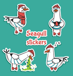 Bird seagull stickers set isolated on blue vector