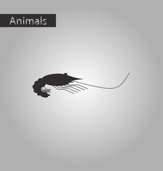 Black and white style icon of shrimp vector
