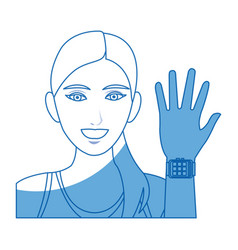 Character woman portrait sport with smart watch vector