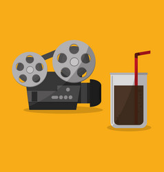 cinema projector film portable soda straw vector image vector image