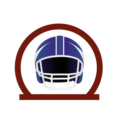 circular frame with american football helmet vector image vector image