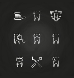 dental icons set - teeth line icons on chalkboard vector image