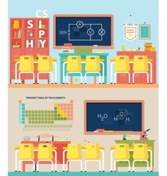 Empty school classroom for physics and chemistry vector