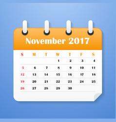 european calendar for november 2017 vector image vector image