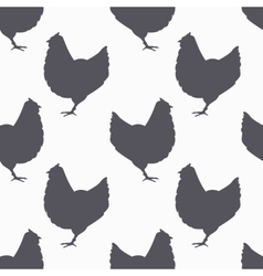 Farm bird silhouette seamless pattern chicken vector