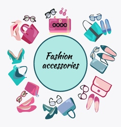 Fashion shopping frame background with women shoes vector