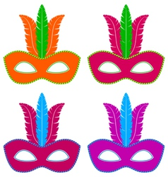 Flat masks with feathers vector image vector image