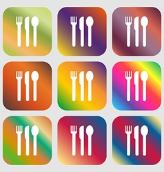fork knife spoon icon Nine buttons with bright vector image vector image