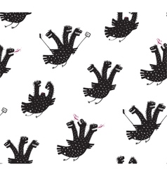 Funny comic humorous seamless pattern dragon hand vector
