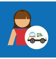Girl cartoon mail car icon design vector