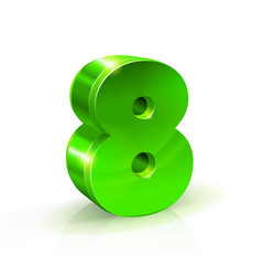 glossy green eight 8 number 3d on vector image