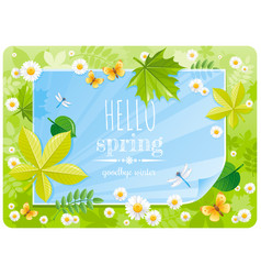 Hello spring banner border poster forest grass vector