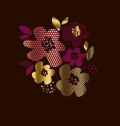 Luxury gold floral print with geometry pattern vector