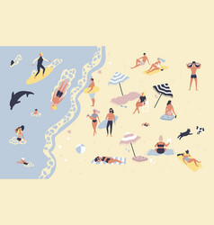 people at beach or seashore relaxing and vector image vector image