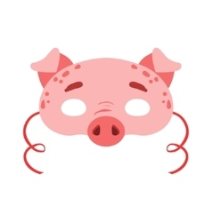 Pig animal head mask kids carnival disguise vector