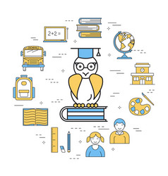 Round lineart concept with a wise owl vector