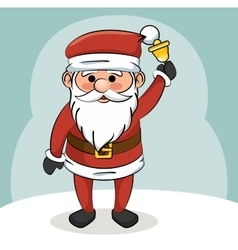santa claus with bell christmas design vector image