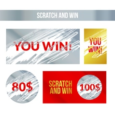 Scratch and win labels scratch marks effect winner vector