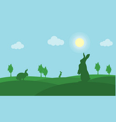 Silhouette of easter bunny landscape on green vector