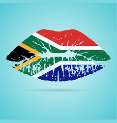 south africa flag lipstick on the lips isolated on vector image