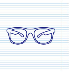 Sunglasses sign navy line vector