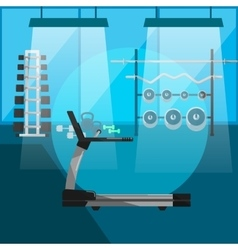 Treadmill in gym interior with equipment vector