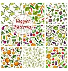 Veggies seamless patterns set of vegetables vector