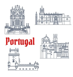 Architectural travel landmarks of portugal icon vector
