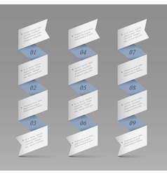 Trendy vertical origami paper numbered banners vector