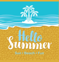 Travel banner with the sea beach sand and palms vector