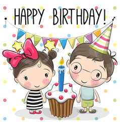 Greeting card boy and girl vector