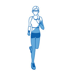 Woman run with wearable technology headphones vector